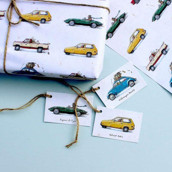Animal Cars Gift Tags Set