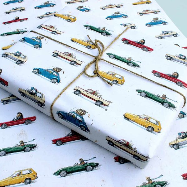Animal Cars Gift Wrap Set