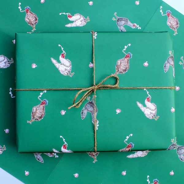 Three French Hens Gift Wrap Sheet