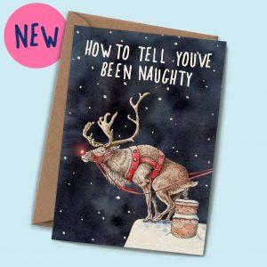 Naughty Christmas Reindeer Card